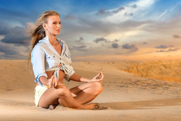 Beach-yoga-model